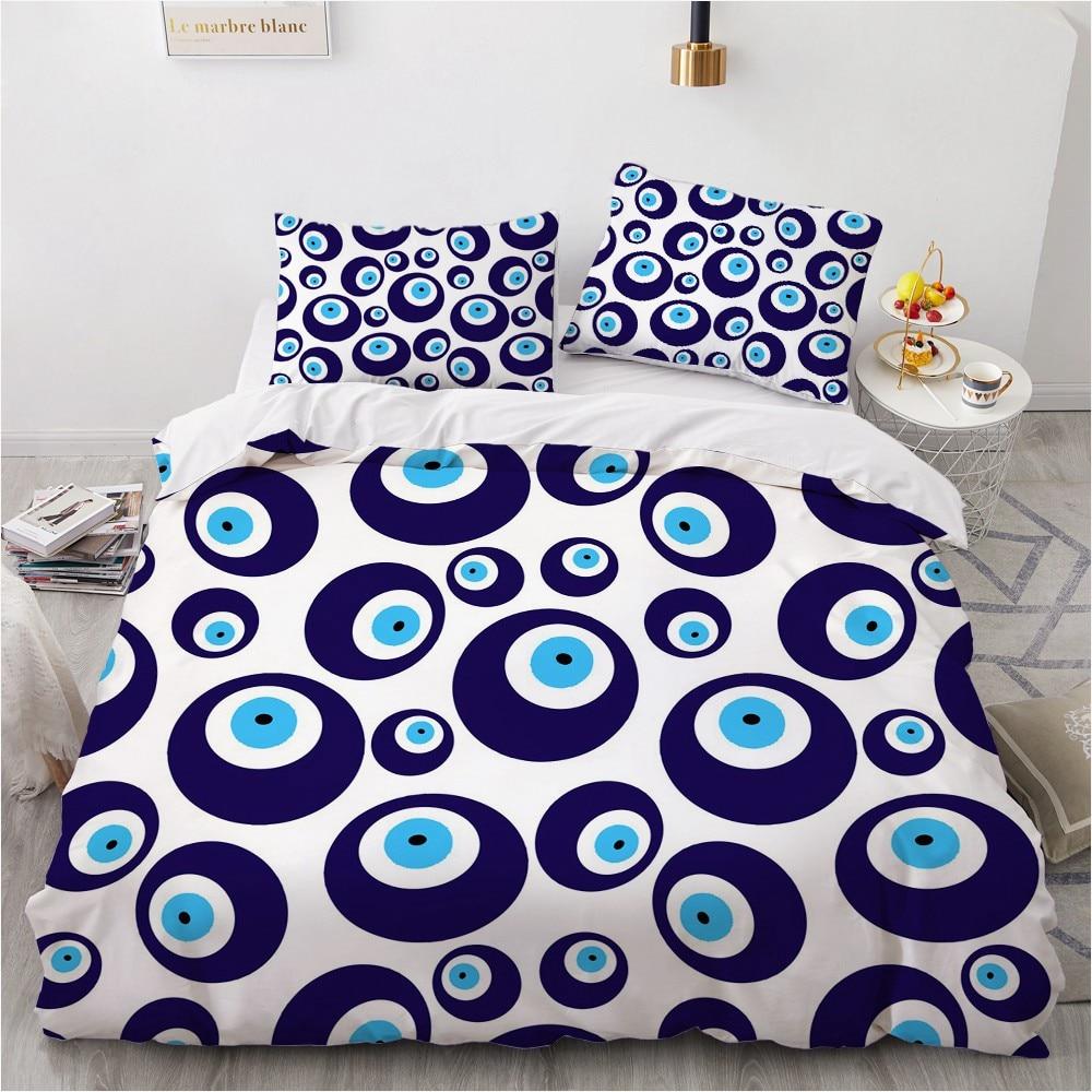 Fashion 3D Bedding Set Cartoon Duvet Cover Sets Evil Eye Design Bed Linen White Bedclothes Luxury Home Textile Accept Wholesale