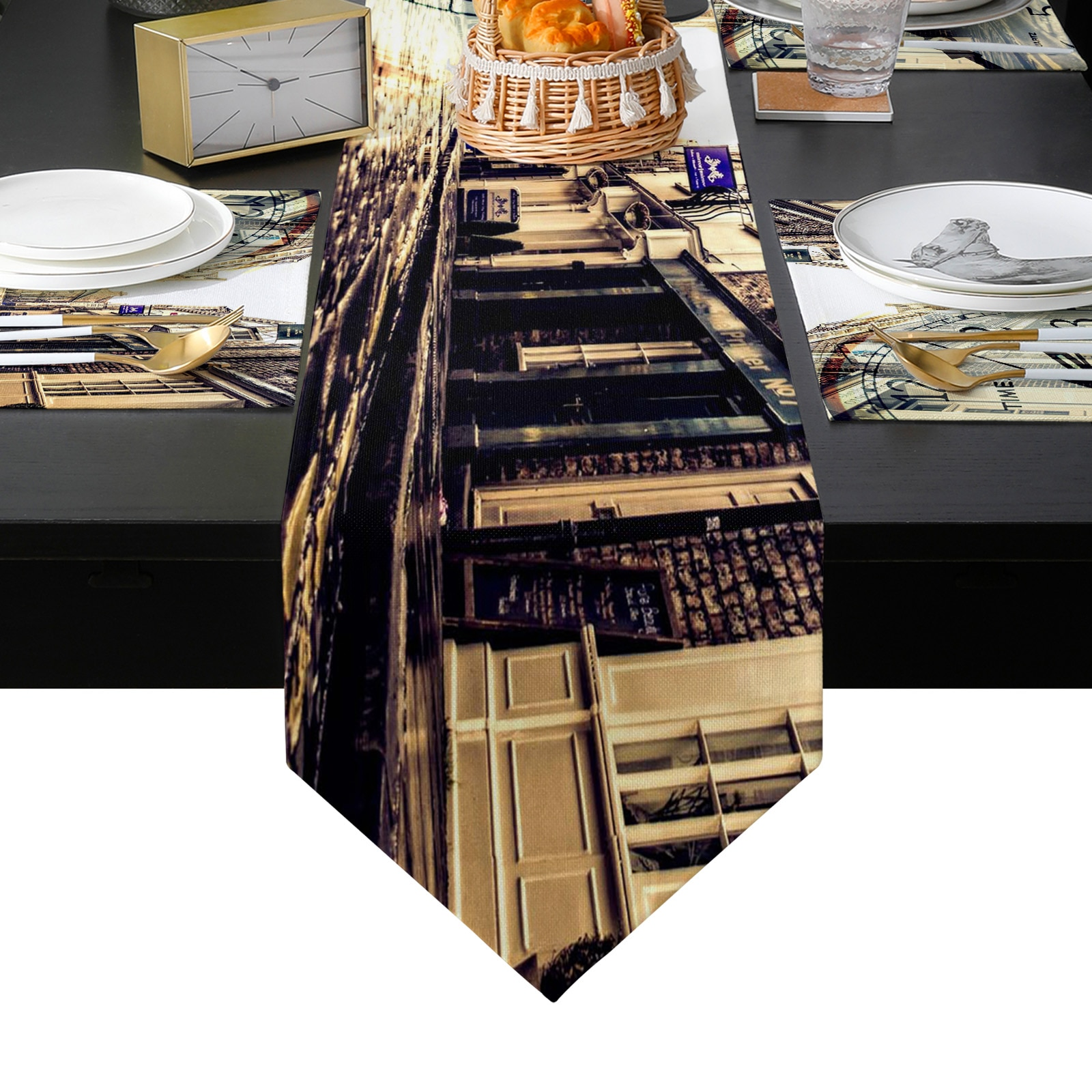 ساعة الرجعية الشارع الجدول عداء المفارش مجموعة للمنزل المطبخ طاولة طعام حفل زفاف عطلة عشاء الديكور