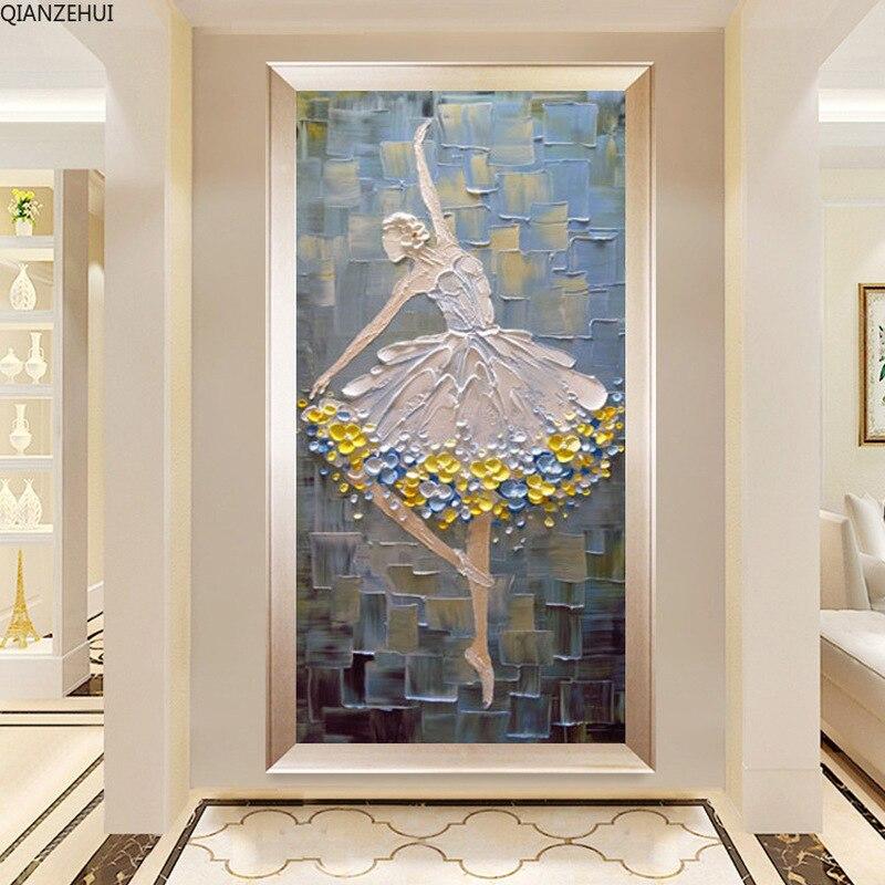 QIANZEHUI, bordado de diamantes DIY, bailarina de Ballet de diamantes redondos, sala de estar, pintura completa de diamantes de imitación de punto de cruz