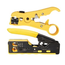 2in1 conjunto de ferramentas de friso multi-função sete tipos de through-hole rj45 cabeça de cristal ferramenta de rede cabo de rede de stripper de fio pli