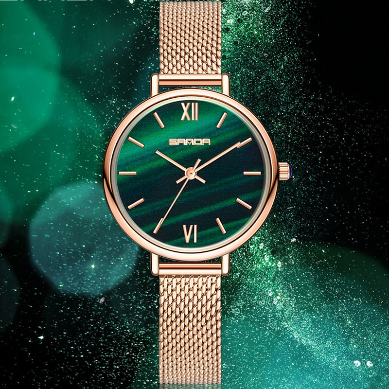 Sanda NEW Retro Women Wristwatch Malachite Green Sparkling Starry Quartz Dial Ladies Watches Fashion Blue Roman Scale Clock HOTS enlarge