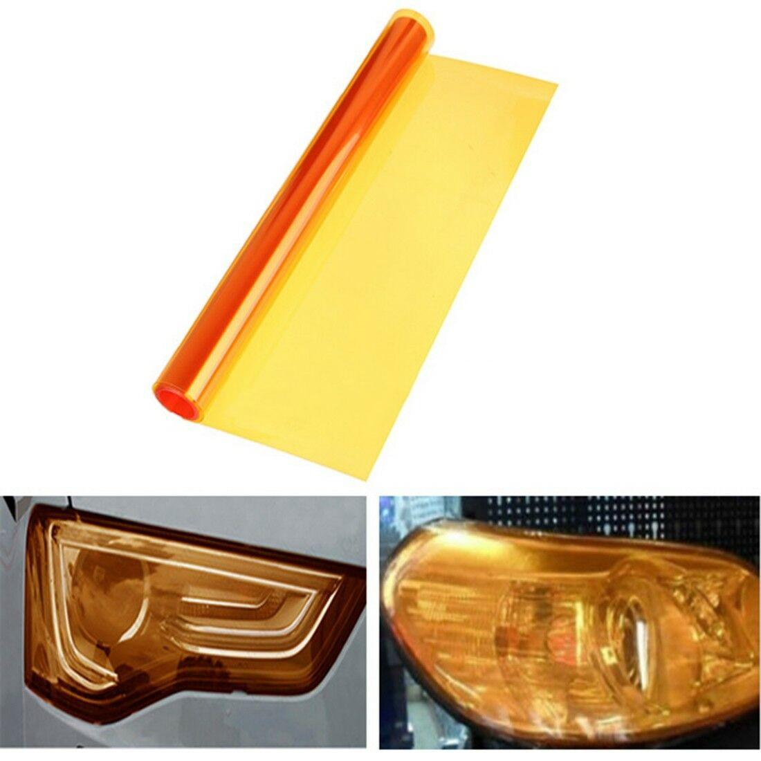 12 X 48 Amber Orange Car Tint Headlights Tail Fog Lights Vinyl Smoke Film Sheet