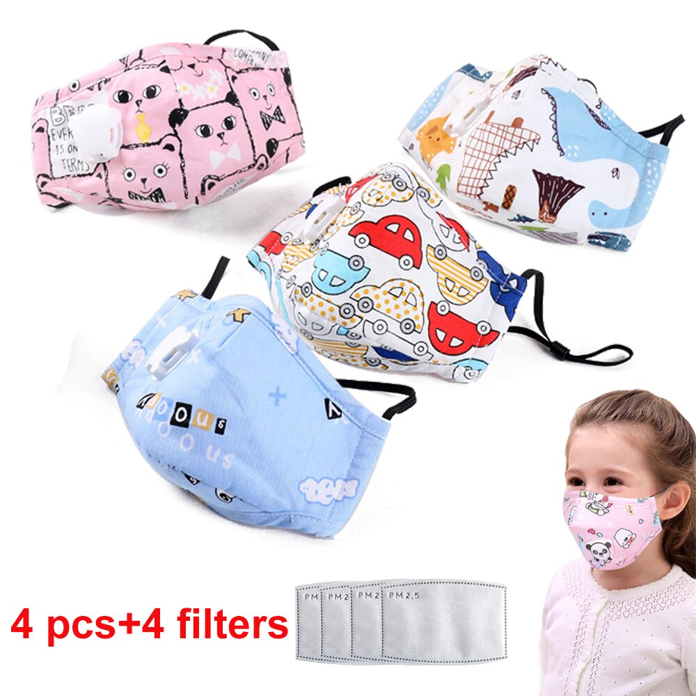 frienvita whitening filter mask set 4 Set Kids Anti Pollution PM2.5 Cotton Cartoon Mouth Mask Breath Valve Filter Papers Kids Anti-Dust Mask Activated Carbon Filter