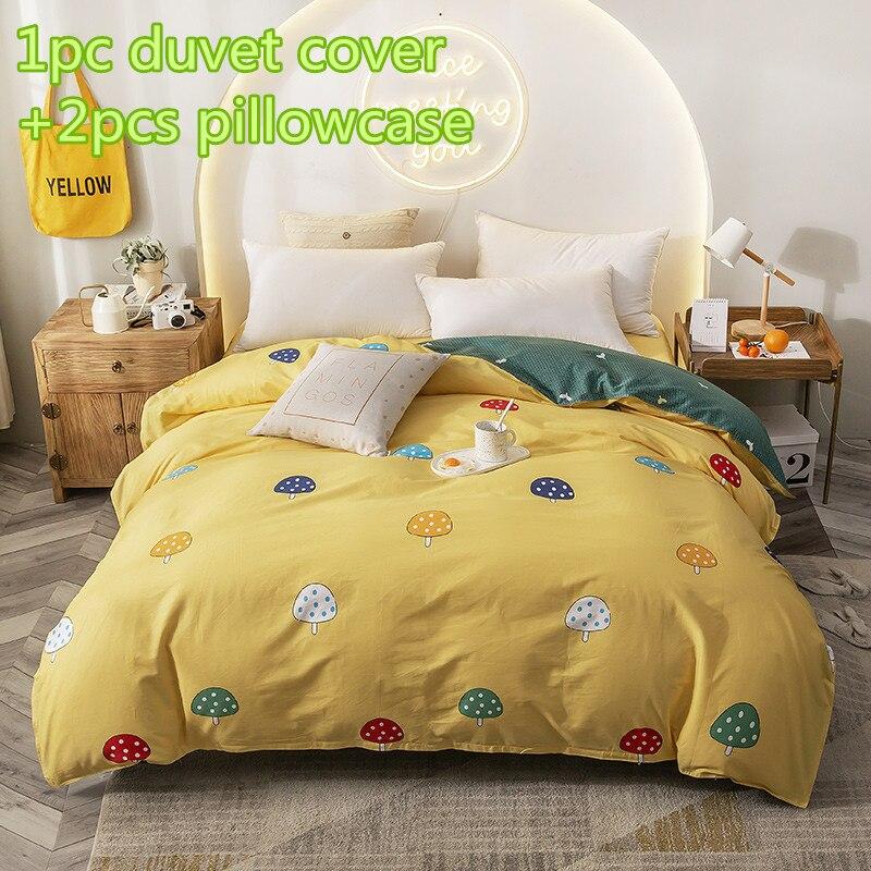 Juegos de edredón de setas, colcha de cubierta de dibujos de algodón, juego de cama de doble reina, 2 piezas, funda de almohada, edredón amarillo