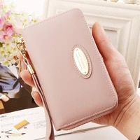 women mid length zipper solid color wallets female letter metal decoration coin purses ladies pu leather card holder clutch bag