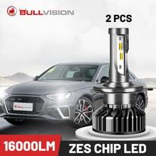 Bullvision Led H7 H4 светильник для автомобиля 12 В HB3 HB4 9005 9006 головсветильник свет H8 H9 Turbo Светодиодная лампа H11 противотуманный автолампа 16000LM ZES чип Ice