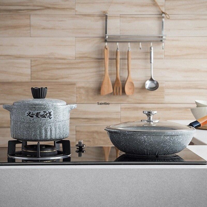 Olla de cerámica resistente al calor de piedra de arroz chino, olla de cocina seca wok, juego de utensilios de cocina antiadherentes, juegos de ollas de cocina