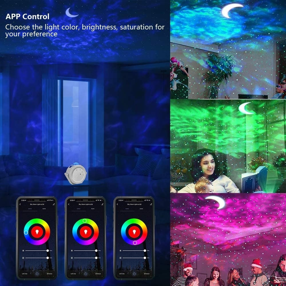 Smart life wifi APP starry sky projector galaxy projector stars moon ocean voice music control LED night light lamp for kid gift enlarge