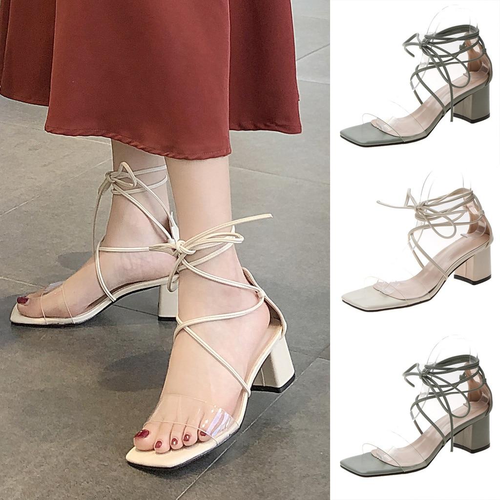Nice maré feminino sapatos de salto alto das mulheres dedo do pé aberto tornozelo cinta vestido de casamento senhoras rendas-up sandálias zapatillas mujer #522