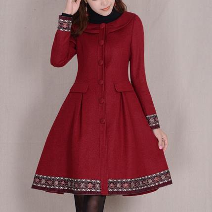 Abrigo de invierno para mujer de chaqueta de lana ajustada de manga...