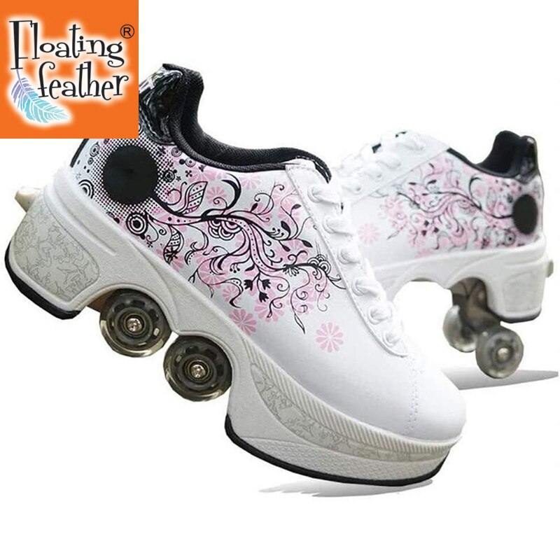 2021 Leather Pink Roller Skates Deformation Shoes with 4 Wheels Adults Unisex Casual Shoes Children Skates Double Wheel Shoes