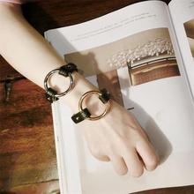 Fashion Street Shooting Style Trendy Bracelet European and American High Profile Retro Leather Brace