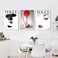 Affiche murale en Vogue retro  peinture sur toile imprimee  levres de femme  yeux de ballon  image pour salon nordique  decoration de la maison