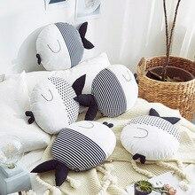 Fish Plush Couple Kiss Fish Round Cushion Wave Print Striped Animal Shape Throw Pillow Kids Toys Baby Doll Wedding Gifts