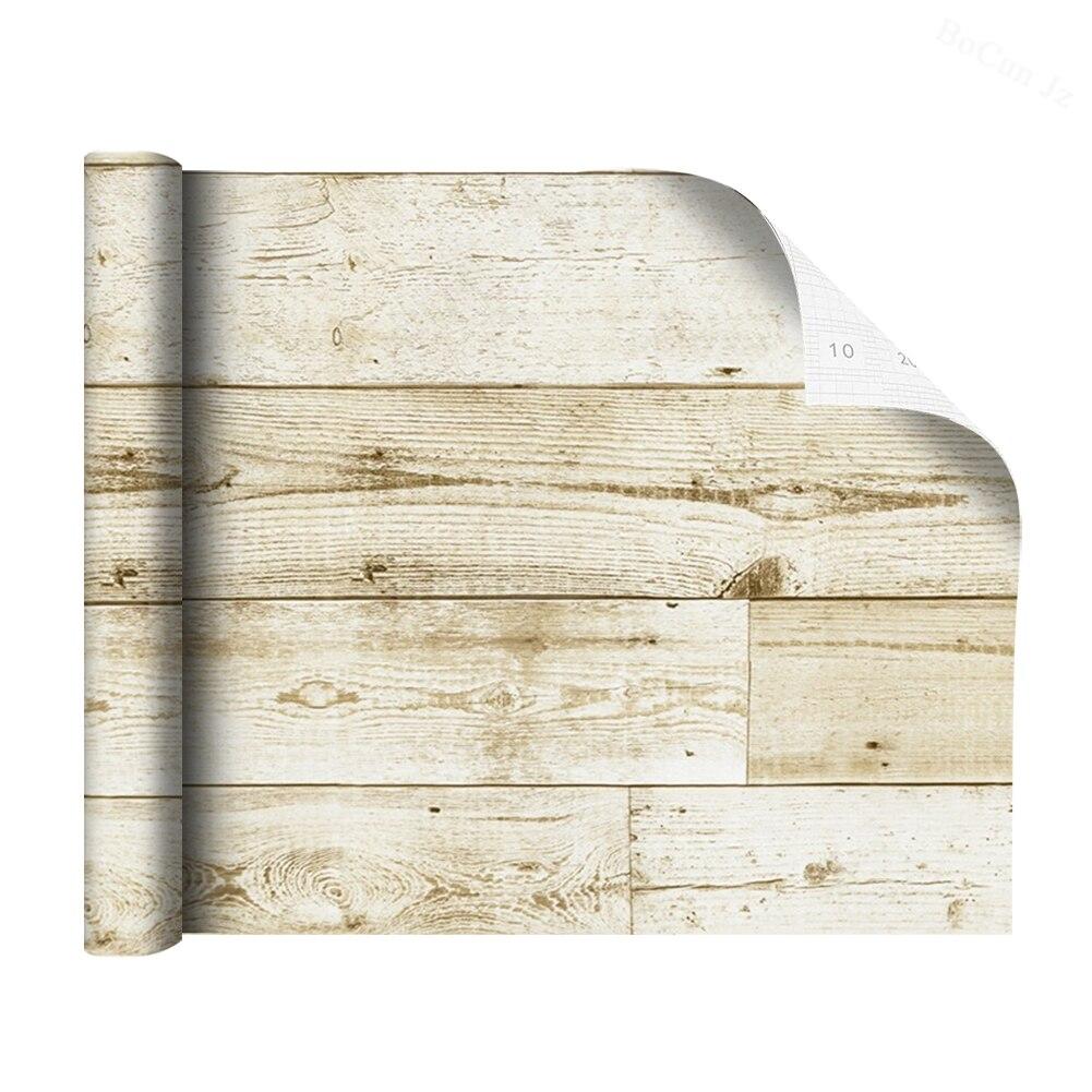 Состаренная деревянная настенная бумага, винтажная деревянная контактная бумага, белая/коричневая/желтая, самоклеящаяся настенная бумага,...