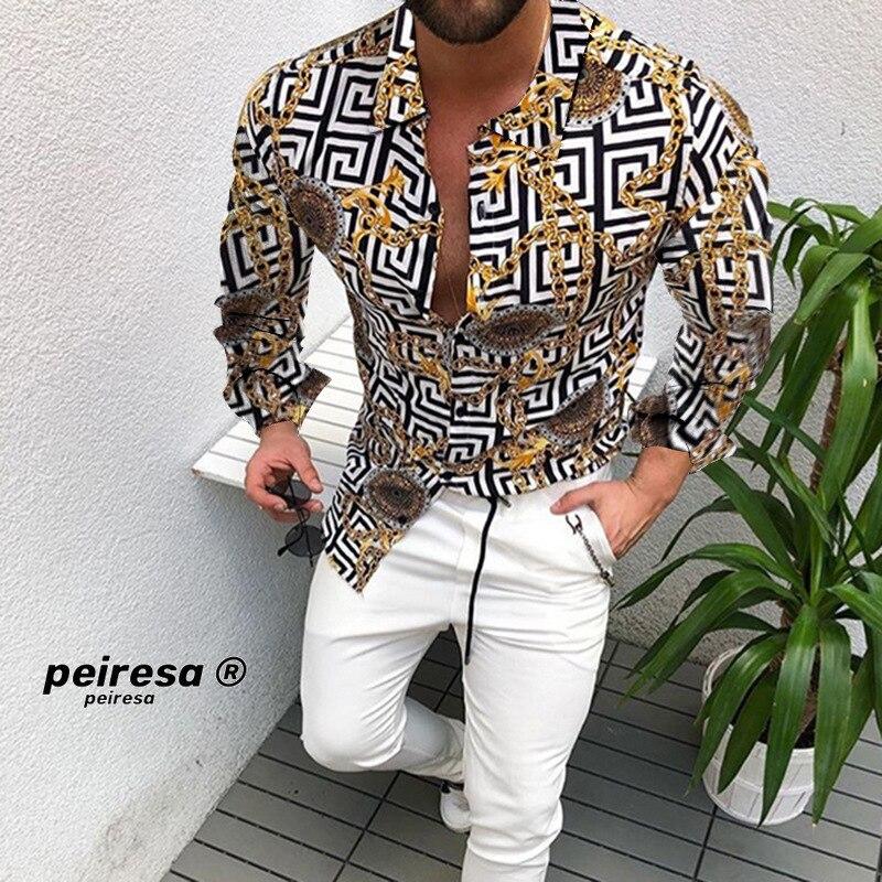 Peiresa-рубашка с длинным рукавом для мужчин, осень 2019, Мужская одежда, стильная рубашка с принтом, Мужская гавайская рубашка