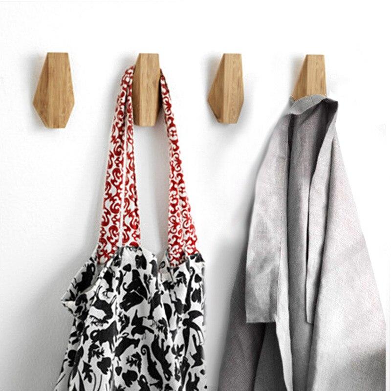 4 قطعة الحد الأدنى شماعة معطف هوك واحد خشبي بسيط اليابانية نمط جدار مفتاح حامل حقيبة قبعة وشاح خشب للزينة السنانير