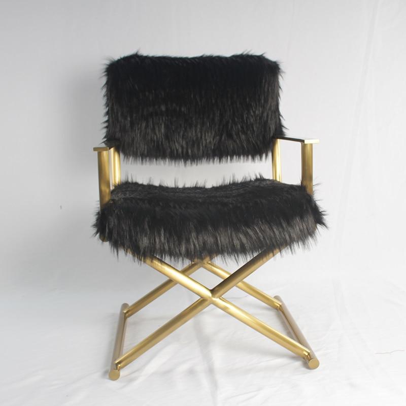 Lumière luxe moderne maison hôtel salon meubles 304 acier inoxydable doré longue chaise unique