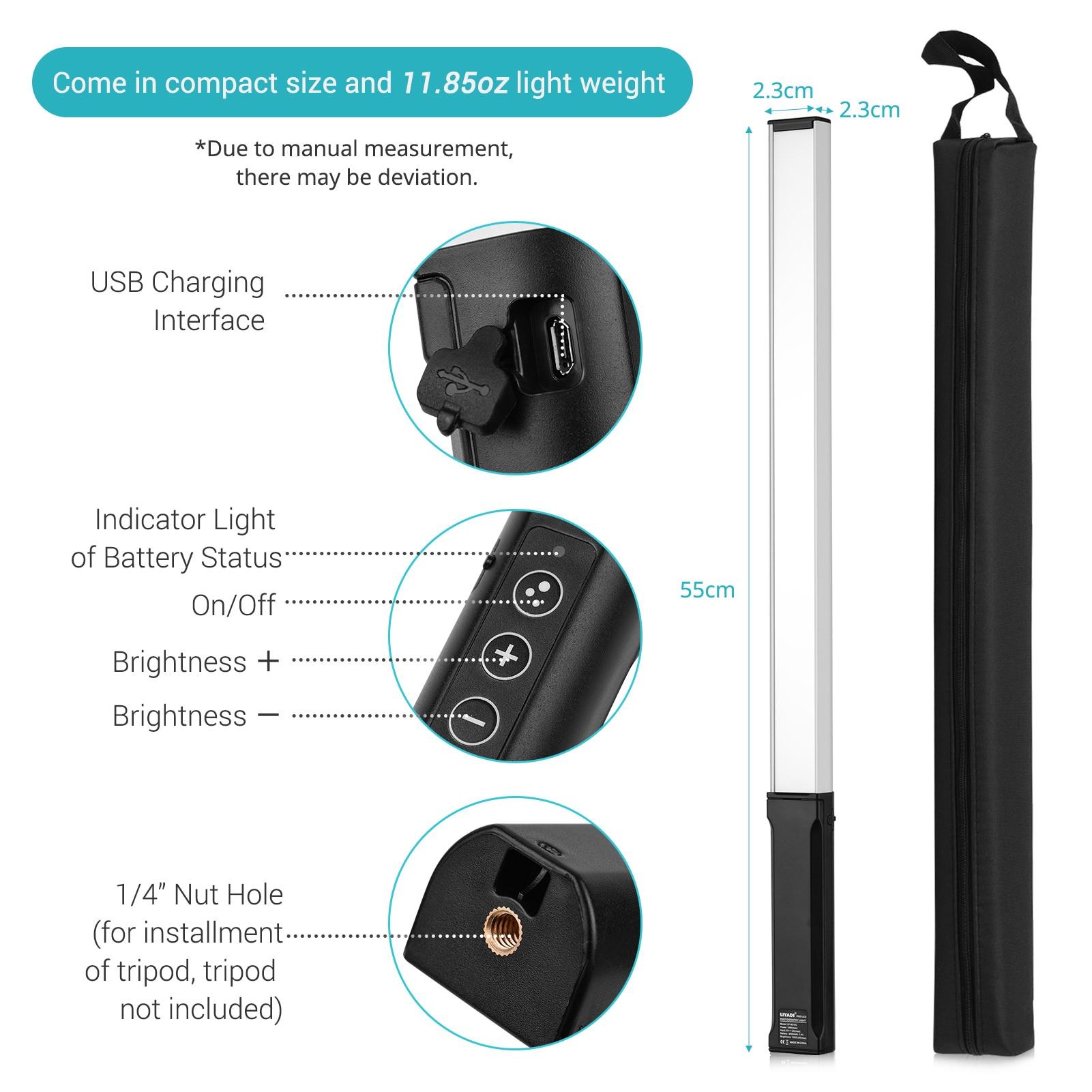 RGB Handheld LED Light Wand Rechargeable Photography Light Stick 10 Lighting Modes 12 Brightness Levels 1000 Lumens 3200-5600K enlarge