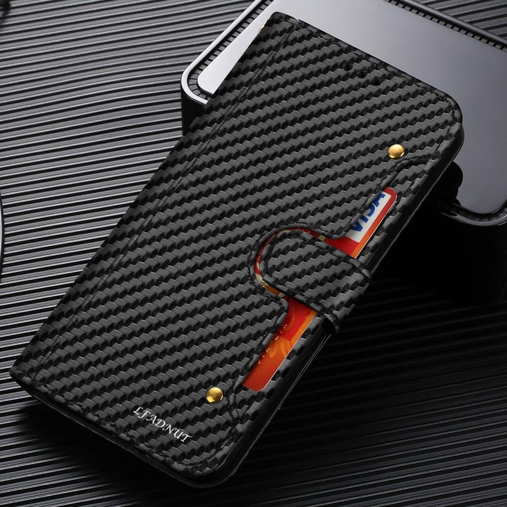 Funda de teléfono LLZ.COQUE con billetera de carbono para Samsung Galaxy S9 Plus S10 S7 Edge, funda magnética de cuero con ranura para tarjetas para Samsung S8