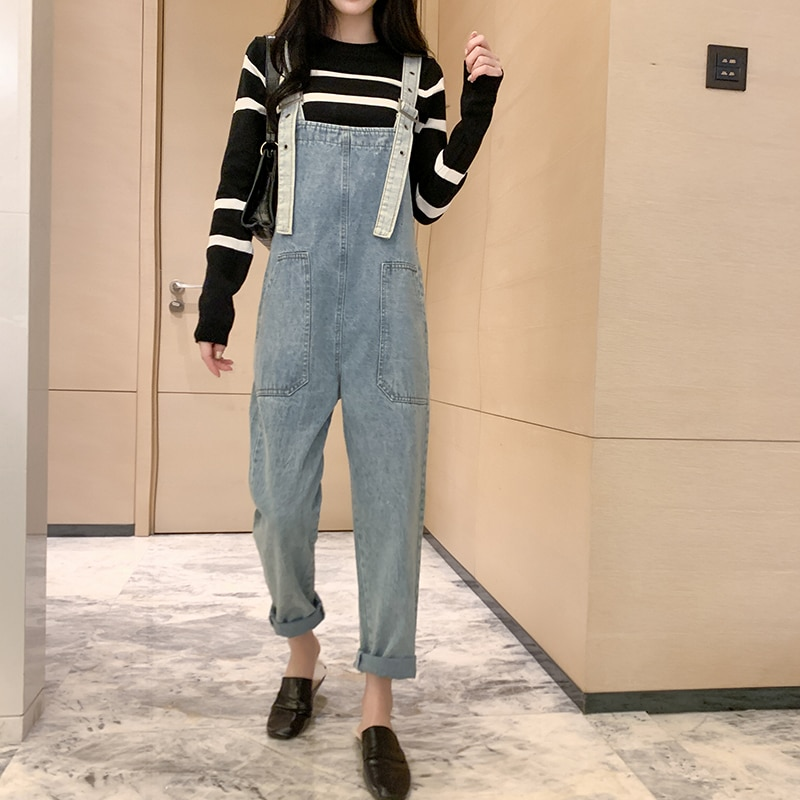 سروال جينز عالي الخصر متعدد الجيوب للخريف والشتاء موضة 2021 للنساء 5xl مقاسات كبيرة