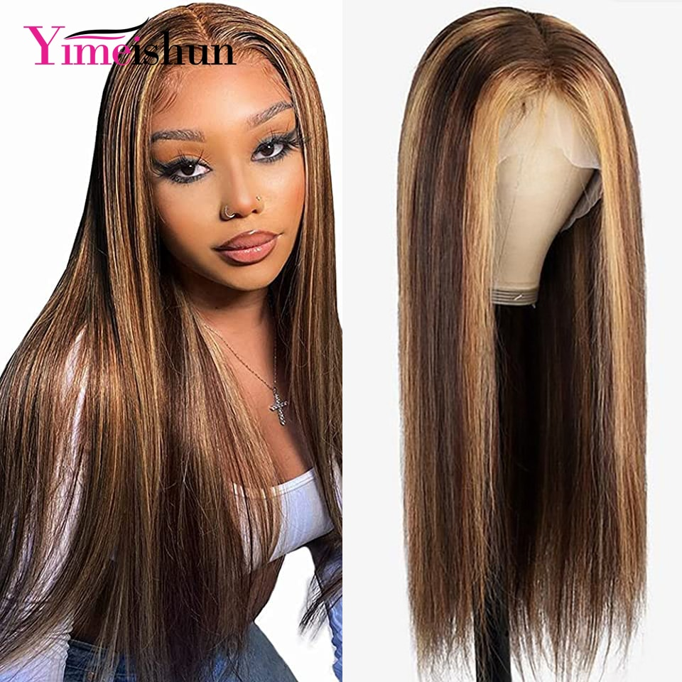 Straight Highlight 13x4 HD Transparent Lace Front Wigs Human Hair Wigs for Black Women Ombre Blonde 4×4 Lace Closure Wigs