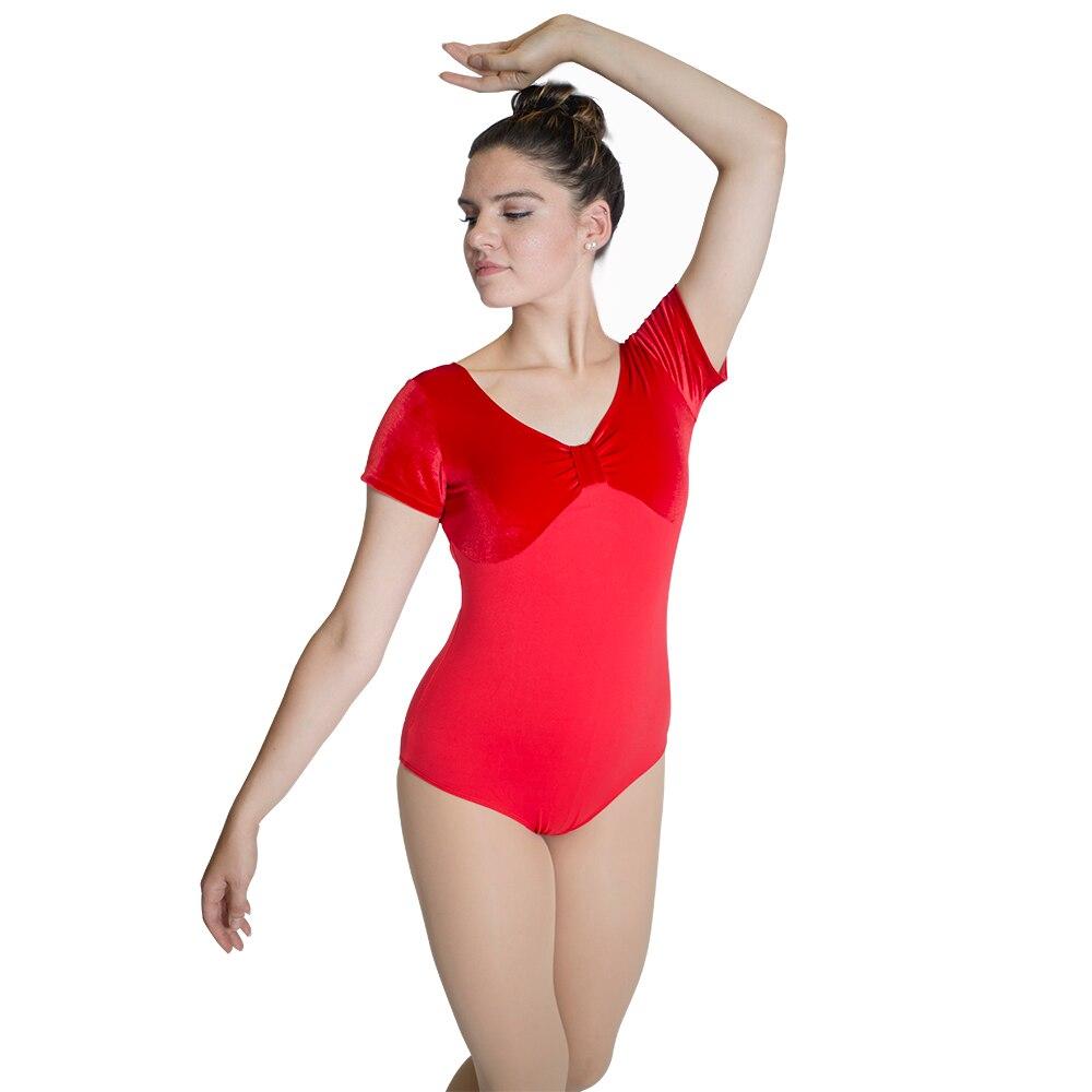 top-de-terciopelo-rojo-y-parte-inferior-de-algodon-baile-leotardo-manga-corta-mono-de-baile-disfraz