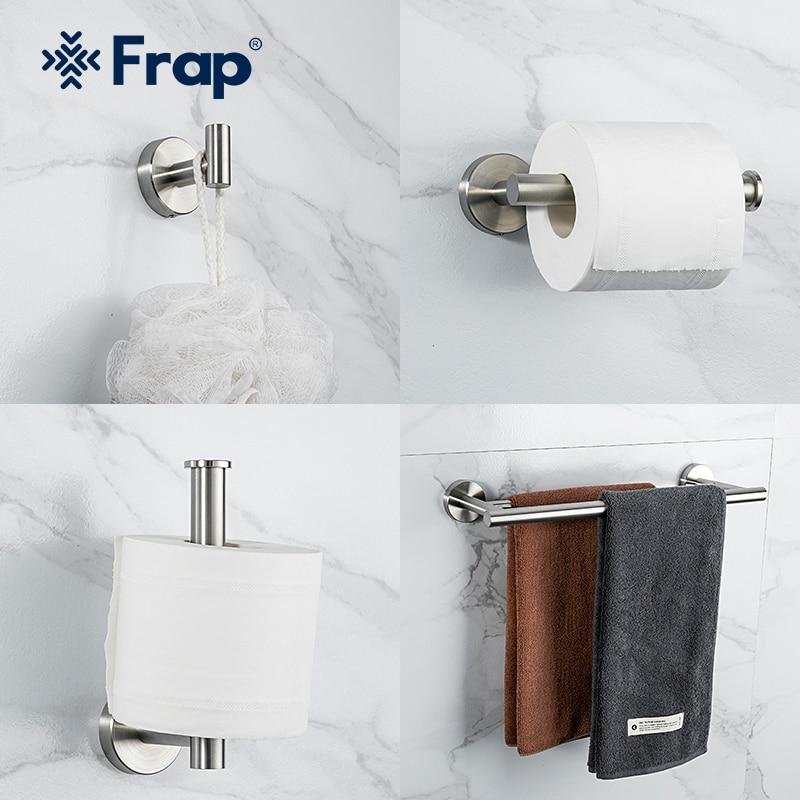 Frap-مجموعة أدوات الحمام من الفولاذ المقاوم للصدأ ، مجموعة من الخطافات ، حامل المناديل الورقية ، حامل المناشف ، ملحقات الحمام Y38137