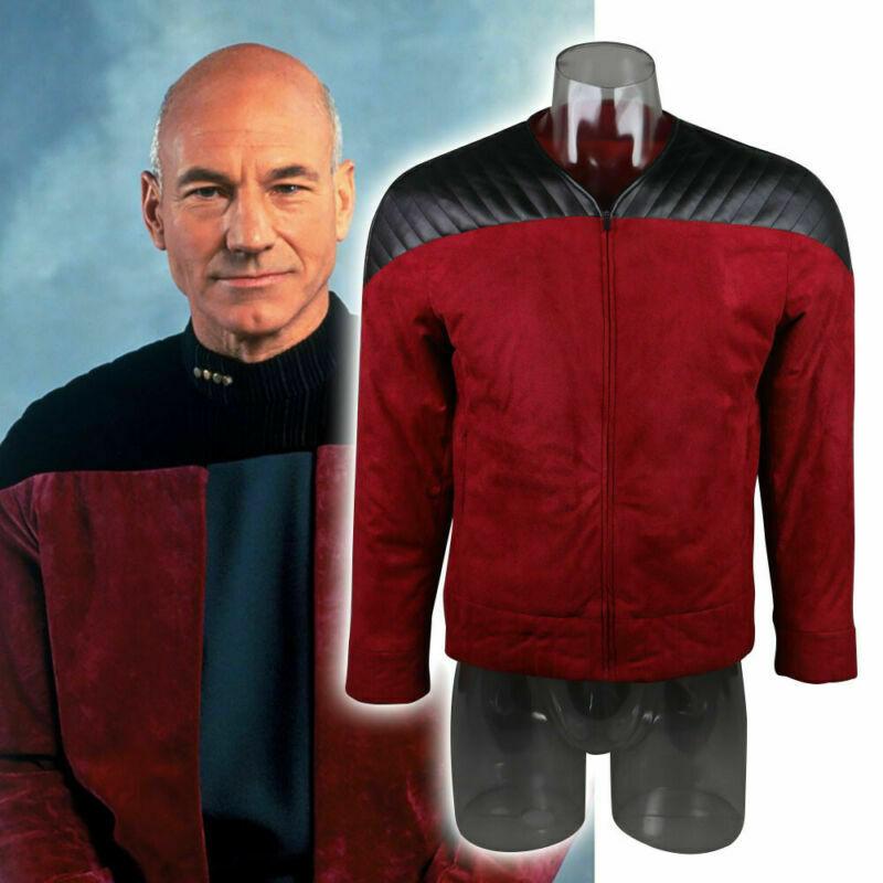 Звездная Униформа нового поколения, костюм капитана Пикарда, костюм красного цвета, мужское зимнее пальто, теплый костюм для костюмированн...