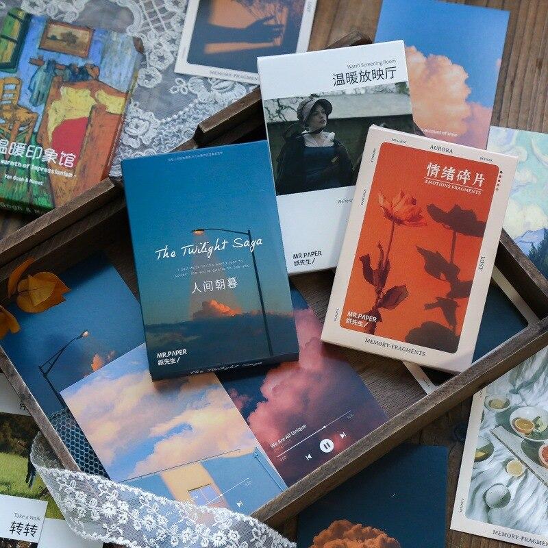 30 шт. тёплые открытки с эффектом сумерек, записываемые поздравительные открытки, декоративные открытки «сделай сам», наклейки на стену, фот...