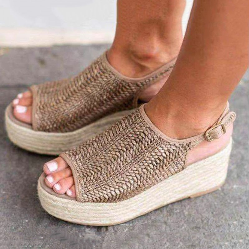 Sandalias MR CO de verano para mujer, sandalias con plataforma Peep Toe, sandalias con cuña de 6CM, sandalias de verano para mujer, zapatos con tacón alto, aire trenzado