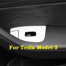 Tesla Model3 용 인테리어 도어 암 레스트 패널 윈도우 리프트 스위치 패널 프레임 트림 버튼 커버 장식 프레임 액세서리