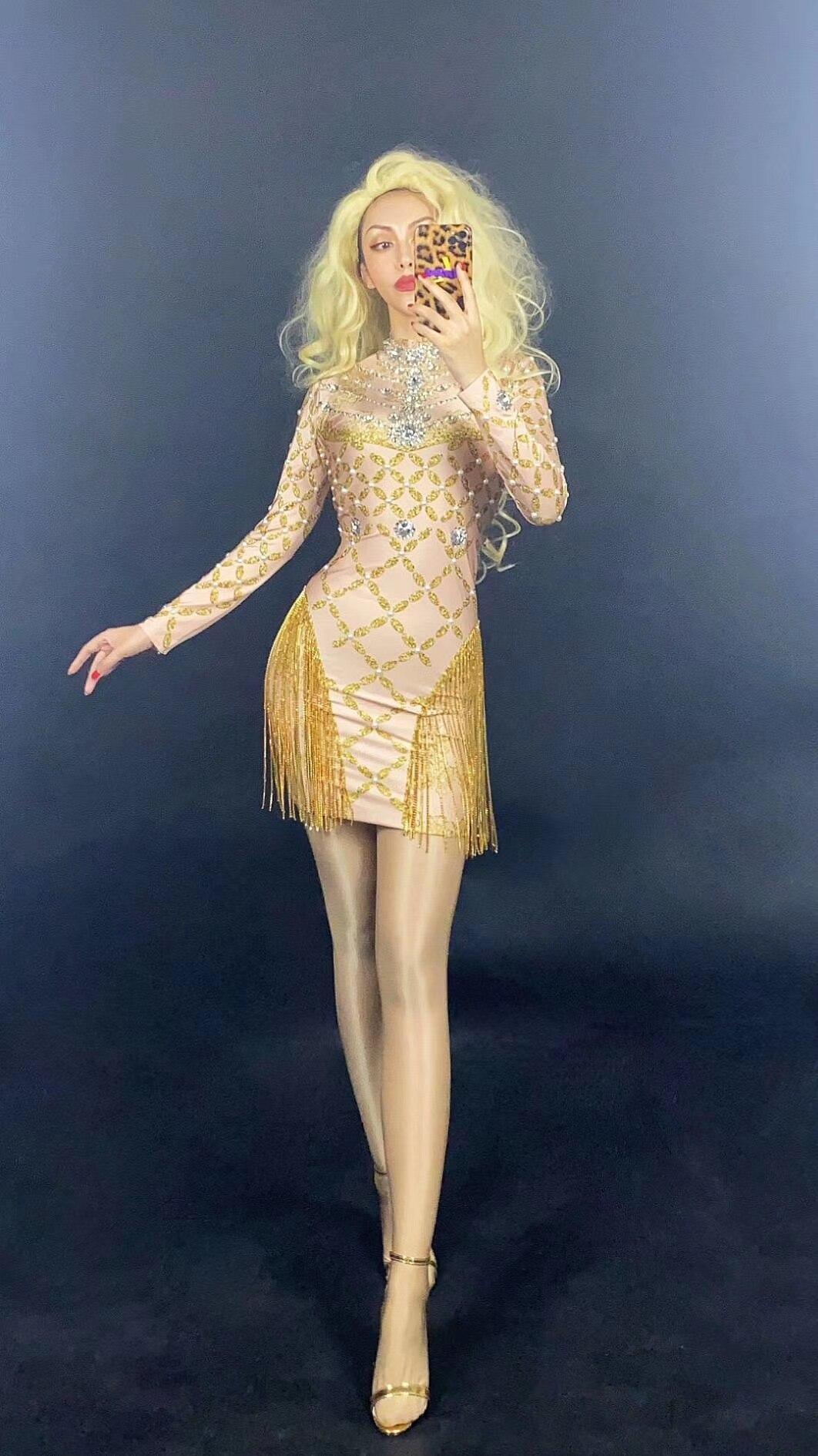 فستان فاخر مطرز بشراشيب ، شبكي ، شفاف ، بأكمام طويلة ، لحفلات أعياد الميلاد ، والحفلات الراقصة ، للنساء ، 2020