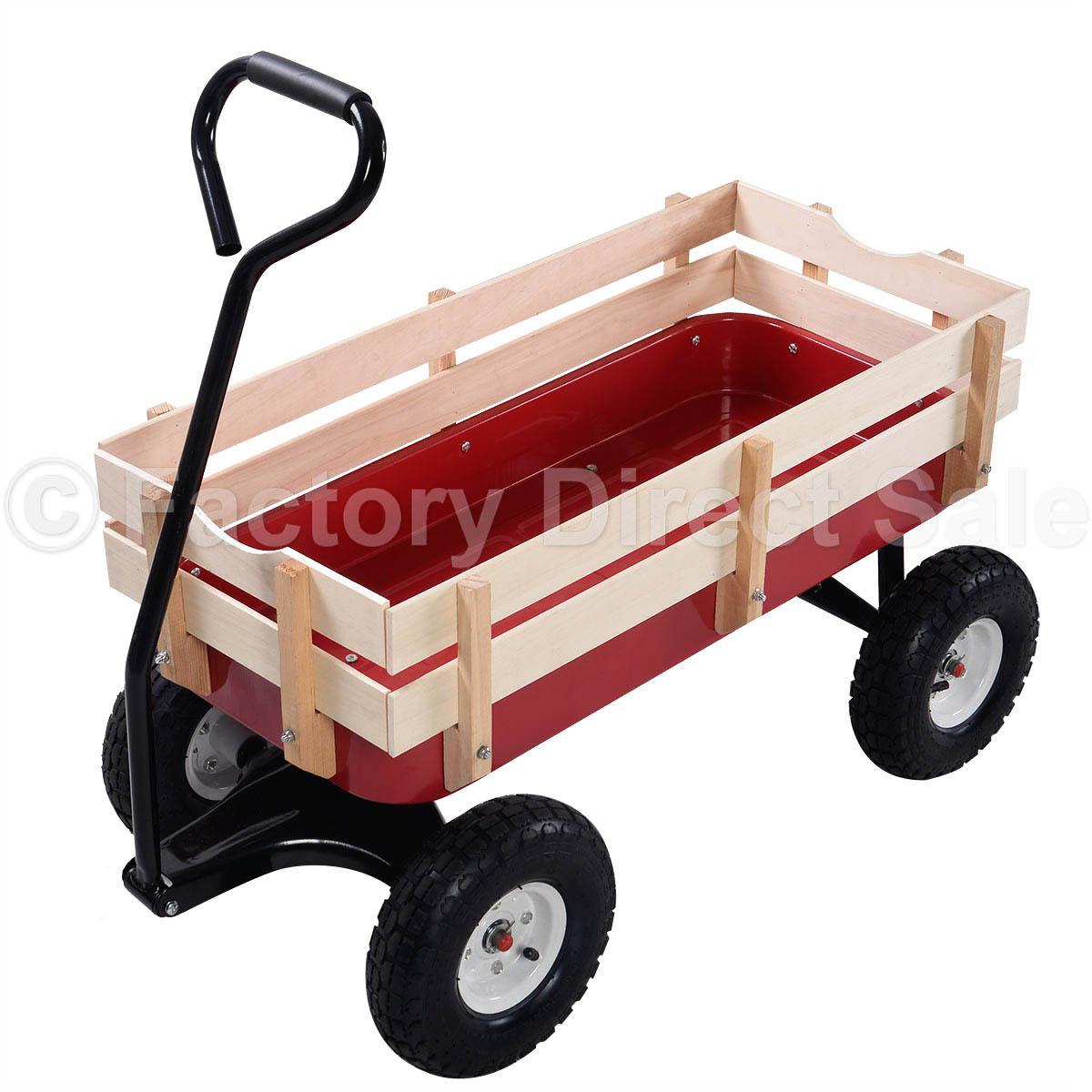 عربة حديقة للأطفال ، مع درابزين خشبي أحمر ، 330 رطلاً