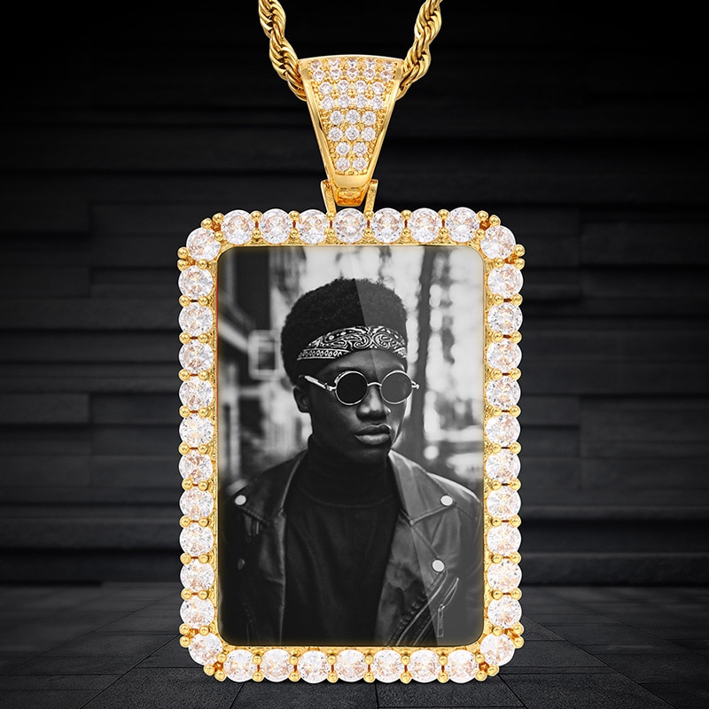 New photo memory Phi square large square photo frame medal solid pendant hip hop Necklace Jewelry