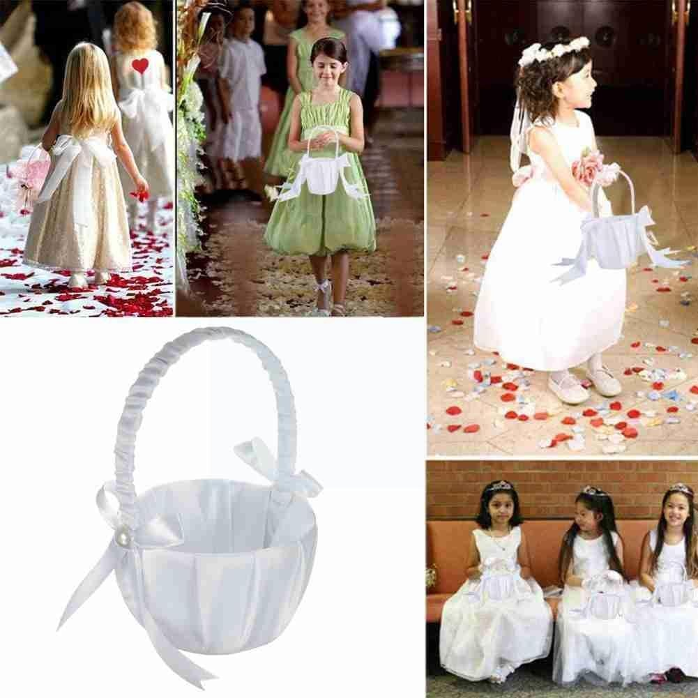 White Flowergirl Basket With Pearl Flower Romantic Ceremony Bowknot Girl Rose Gift Party Flower Minecraft Decoration Birthday