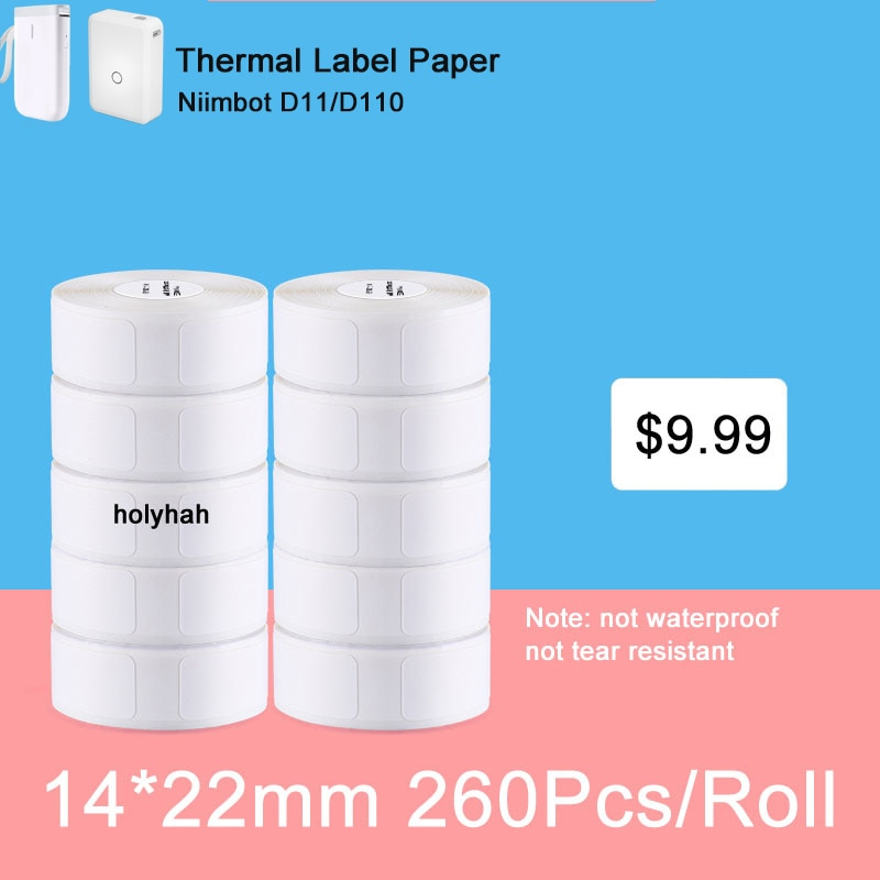 Niimbot D11 و D110 الحرارية لصيقة علامة السعر تسمية لون نقي مقاومة للخدش لصيقة علامة 14x22mmRoll غير مقاوم للماء