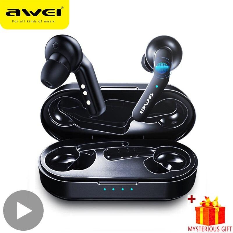 Awei T10C Handsfree Bluetooth Earphone Headset True Wireless TWS Headphone 5.0 Earbuds For In Ear Buds Phone Mobile Blutooth HD