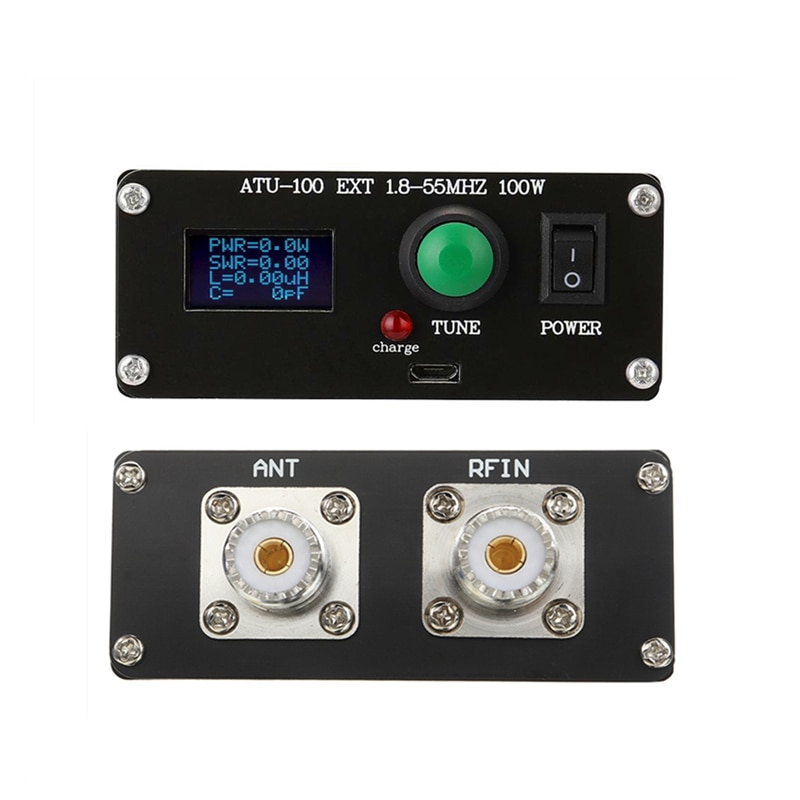 New ATU-100 1.8-50MHz 100W ATU-100 Automatic Antenna Tuner by N7DDC 7x7 0.96 OLED Aluminum Case Battery
