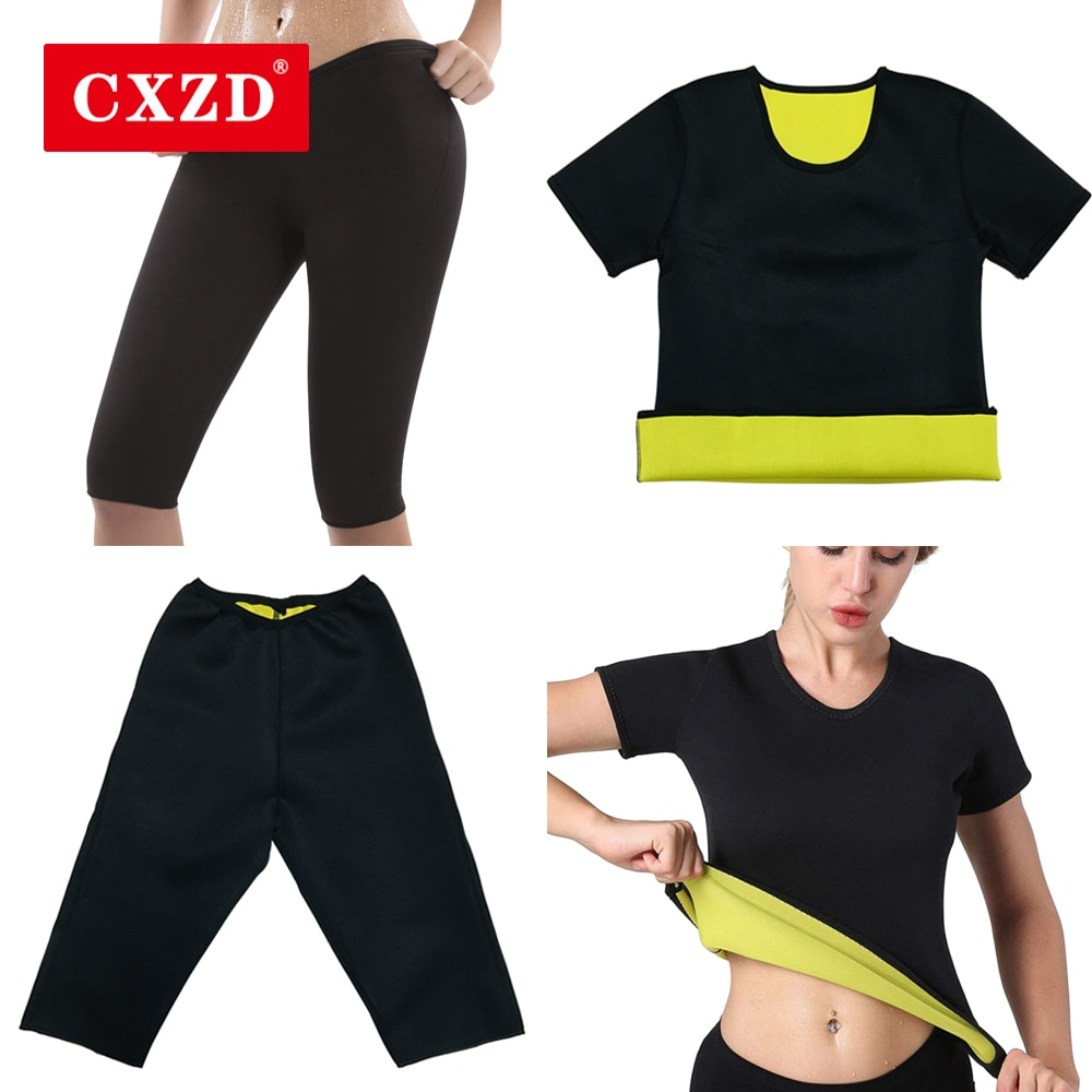 CXZD إمرأة العرق المشكل T قميص + بانت-الساخن الحرارية التخسيس ملابس داخلية ساونا دعوى الخصر المدرب النيوبرين البطن المشكل مشد