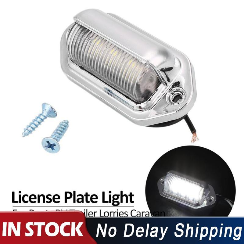 6 ledes de plata DC 12V Número de camión matrícula luz trasera lámpara de paso etiqueta luz para barco RV camión remolque camiones caravana