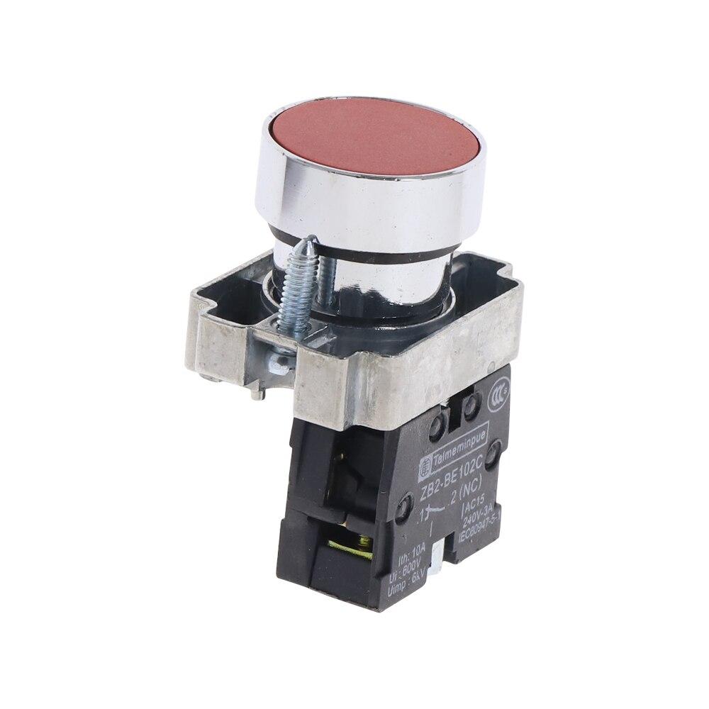 5X ZB2-BA42 NC señal roja normalmente cerrada botón pulsador momentáneo interruptor 22mm
