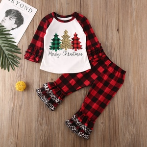 Kids Baby Girl Clothes Merry Christmas Ruffle Tops T-shirt Plaids Pants Outfits Size 1-6T