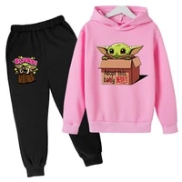 spring and autumn printed anime costume set childrens hoodie and pants 2 piece set toddler boy sportswear girls casual wear