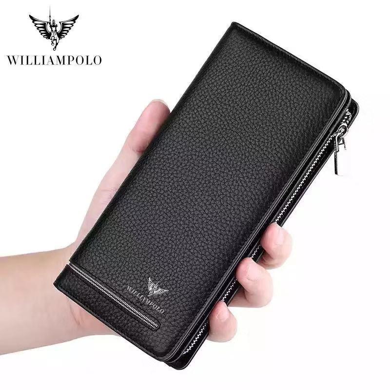 Genuine Leather Luxury Brand Men Wallets Long Purse Wallet Male Clutch Business Organnizer Wallet Coin PL219 недорого