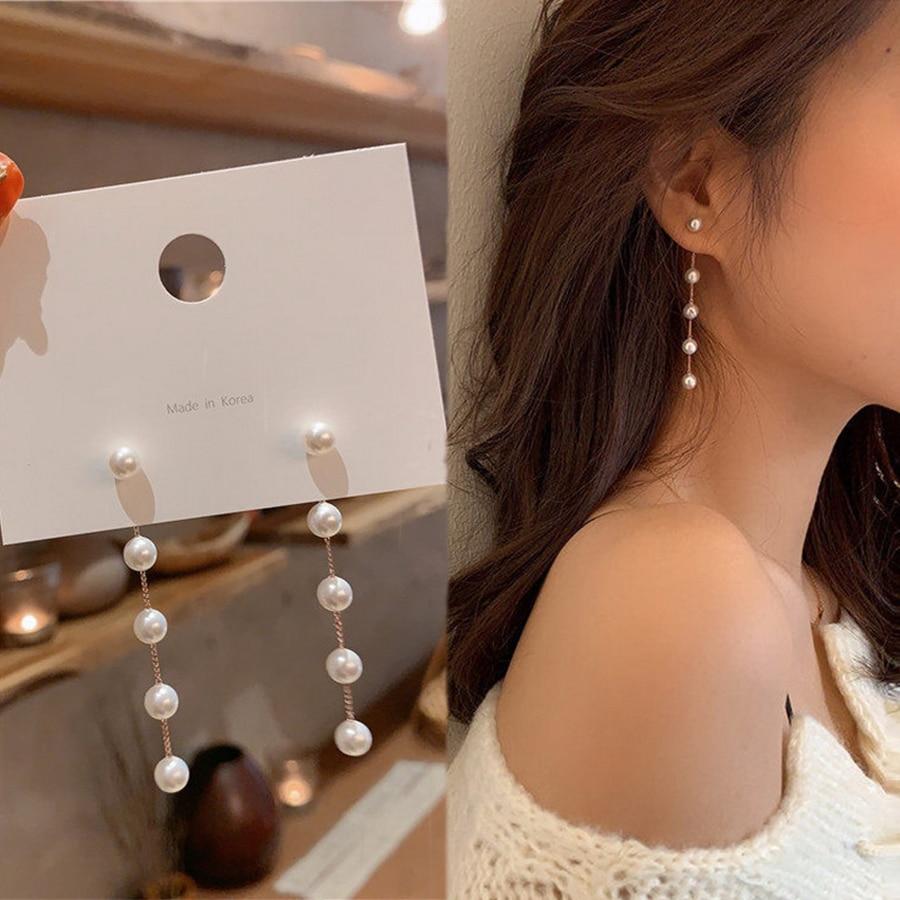 Trend Simulation Pearl Long Earrings Female Moon Star Flower Rhinestone Wedding Pendant Earrings Fashion Korean Jewelry Earrings