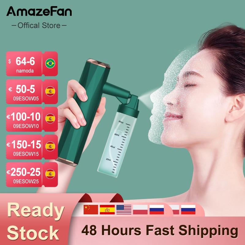 أداة رش الوجه عالية الضغط من AmazeFan آلة تنظيف الوجه بضغط نانو آلة حقن الأكسجين والماء أداة العناية بالبشرة بالبخاخ