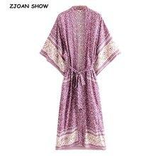 Automne bohème col en V violet imprimé fleuri longue Kimono chemise ethnique nouveau laçage avec ceintures longue Cardigan Blouse ample hauts