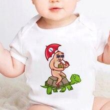 Funnt Sloth and Tortoise Newborn O-neck Bodysuit Cute Animal Cartoon Printed Baby Clothes Fashion Ha