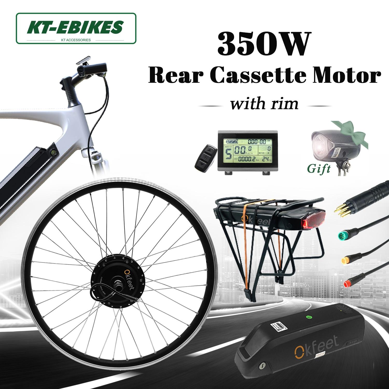 مجموعة محركات الدراجات الكهربائية مع بطارية ، نظام تحويل للدراجة الكهربائية مع كاسيت خلفي ، تروس خلفية ، 36 فولت ، 350 واط ، LCD8 ، 20 ، 26 ، 28